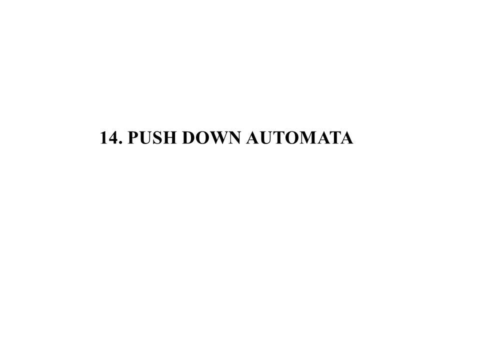 14. PUSH DOWN AUTOMATA