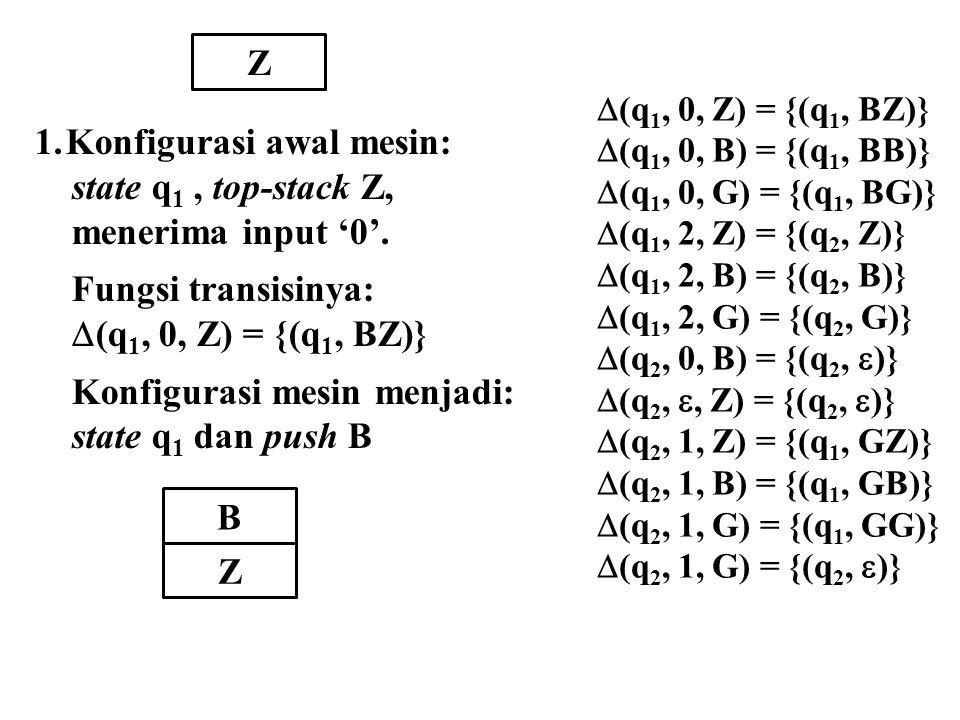 Z B Z 1.Konfigurasi awal mesin: state q 1, top-stack Z, menerima input '0'. Fungsi transisinya:  (q 1, 0, Z) = {(q 1, BZ)} Konfigurasi mesin menjadi: