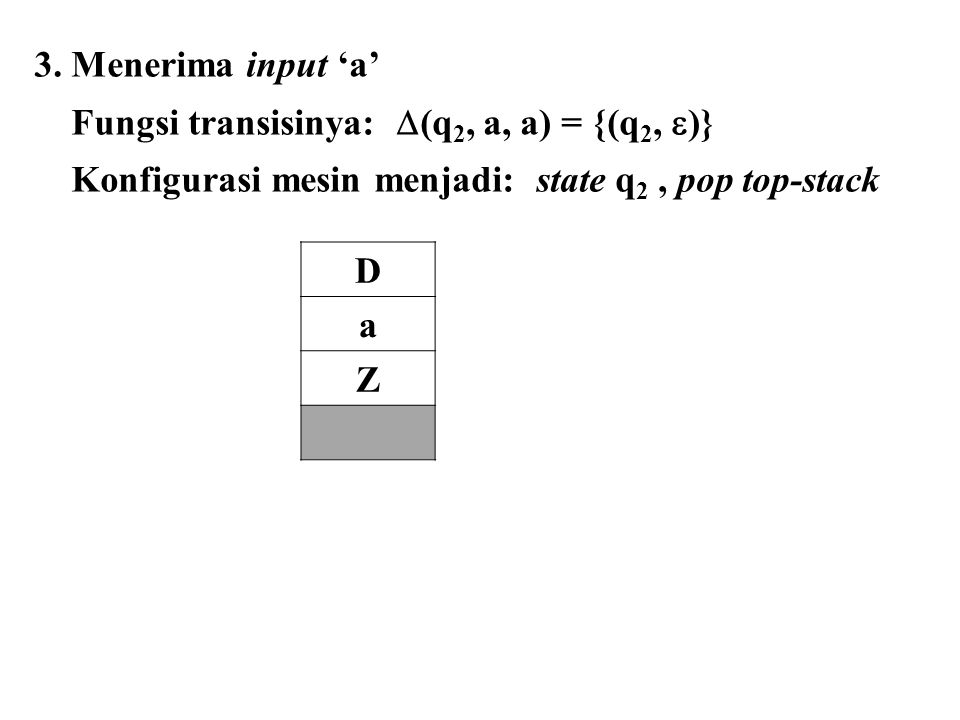 3. Menerima input 'a' Fungsi transisinya:  (q 2, a, a) = {(q 2,  )} Konfigurasi mesin menjadi: state q 2, pop top-stack D a Z
