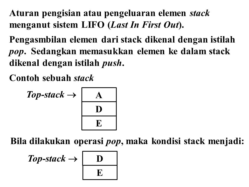 Aturan pengisian atau pengeluaran elemen stack menganut sistem LIFO (Last In First Out). Pengasmbilan elemen dari stack dikenal dengan istilah pop. Se