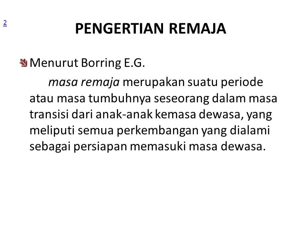 PENGERTIAN REMAJA Menurut Borring E.G.