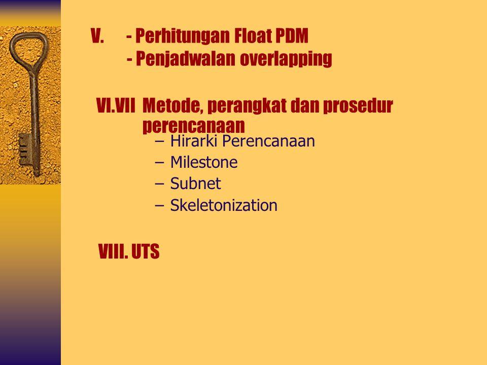 –Hirarki Perencanaan –Milestone –Subnet –Skeletonization V. - Perhitungan Float PDM - Penjadwalan overlapping VI.VII Metode, perangkat dan prosedur pe