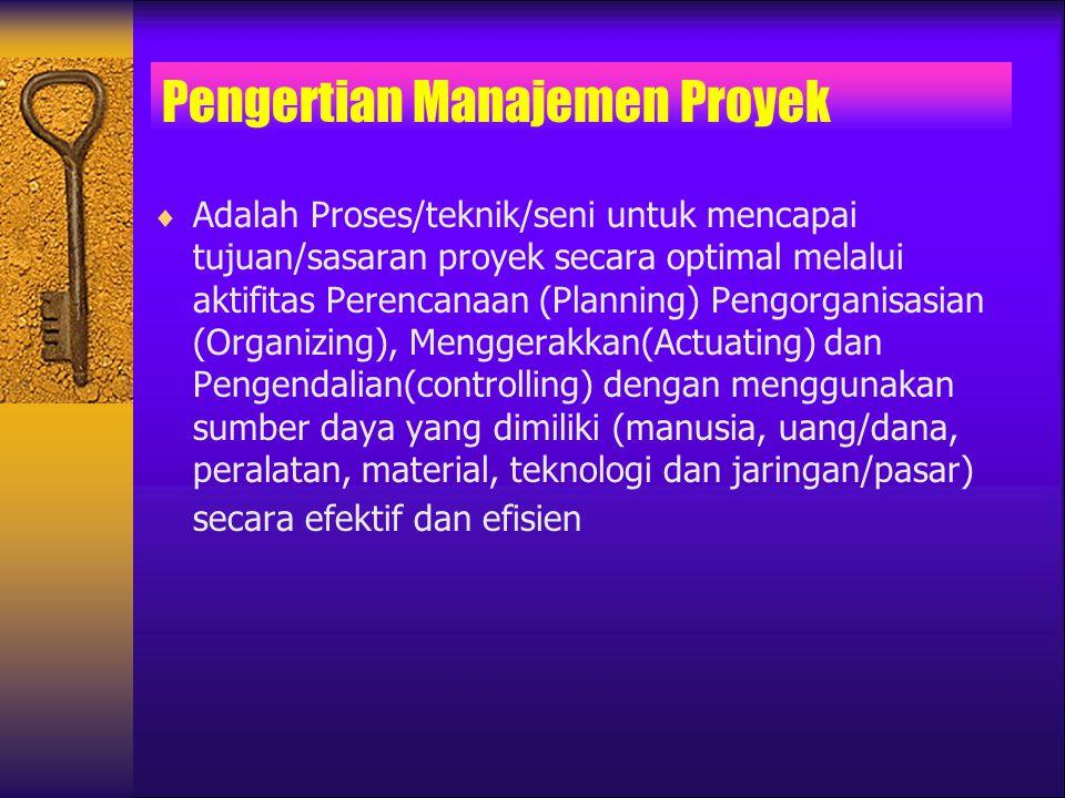 Pengertian Manajemen Proyek  Adalah Proses/teknik/seni untuk mencapai tujuan/sasaran proyek secara optimal melalui aktifitas Perencanaan (Planning) P