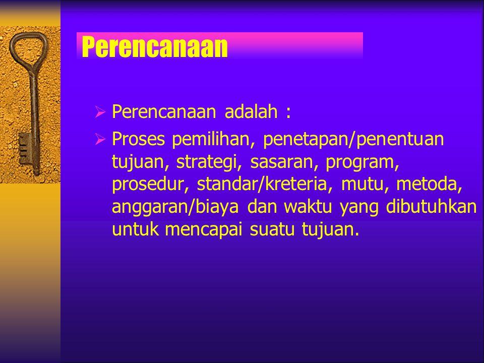Perencanaan  Perencanaan adalah :  Proses pemilihan, penetapan/penentuan tujuan, strategi, sasaran, program, prosedur, standar/kreteria, mutu, metod