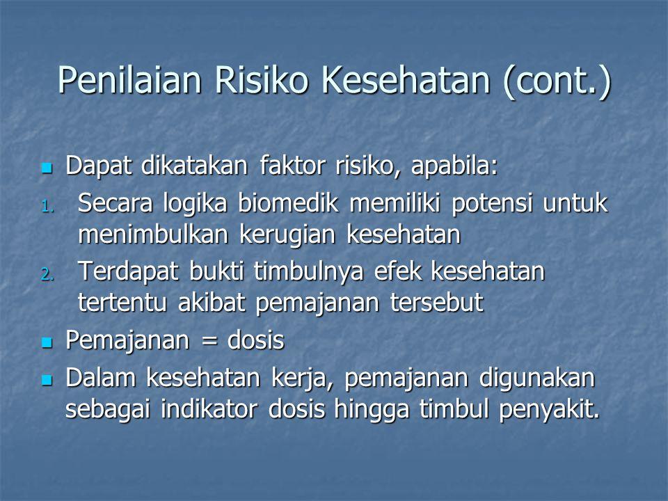 Penilaian Risiko Kesehatan (cont.) Pemajanan harian = jumlah tertentu (konsentrasi atau intensitas) Pemajanan harian = jumlah tertentu (konsentrasi atau intensitas) Misal: mengkonsumsi rokok 20 batang/hari.