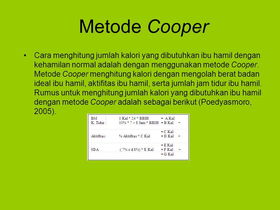 Metode Cooper Cara menghitung jumlah kalori yang dibutuhkan ibu hamil dengan kehamilan normal adalah dengan menggunakan metode Cooper.