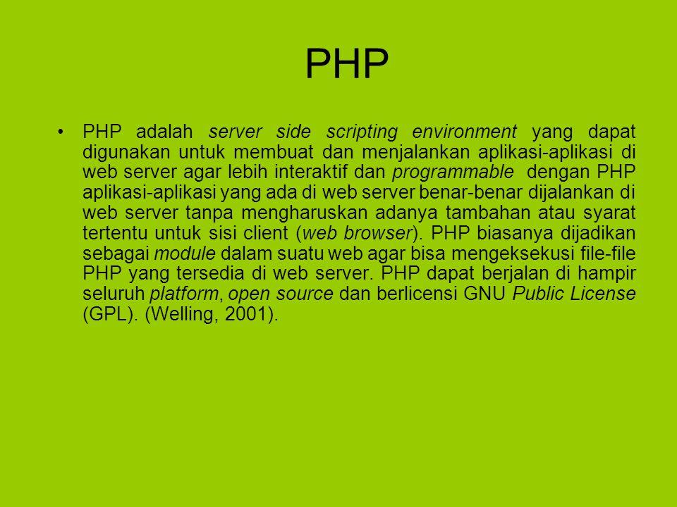 PHP PHP adalah server side scripting environment yang dapat digunakan untuk membuat dan menjalankan aplikasi-aplikasi di web server agar lebih interaktif dan programmable dengan PHP aplikasi-aplikasi yang ada di web server benar-benar dijalankan di web server tanpa mengharuskan adanya tambahan atau syarat tertentu untuk sisi client (web browser).