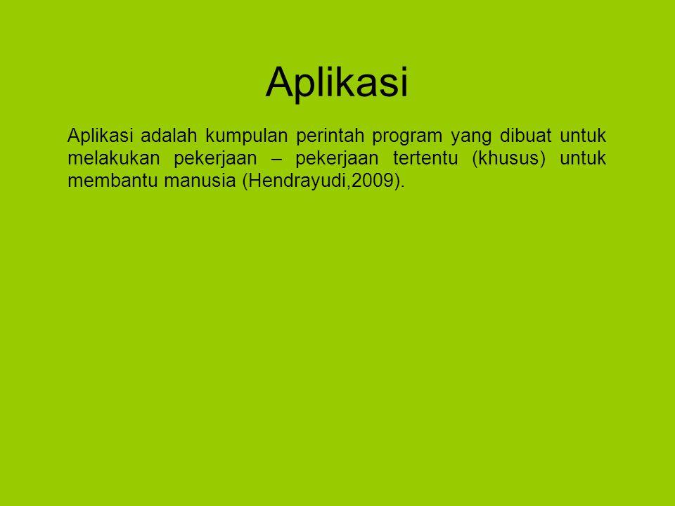 Aplikasi Aplikasi adalah kumpulan perintah program yang dibuat untuk melakukan pekerjaan – pekerjaan tertentu (khusus) untuk membantu manusia (Hendrayudi,2009).