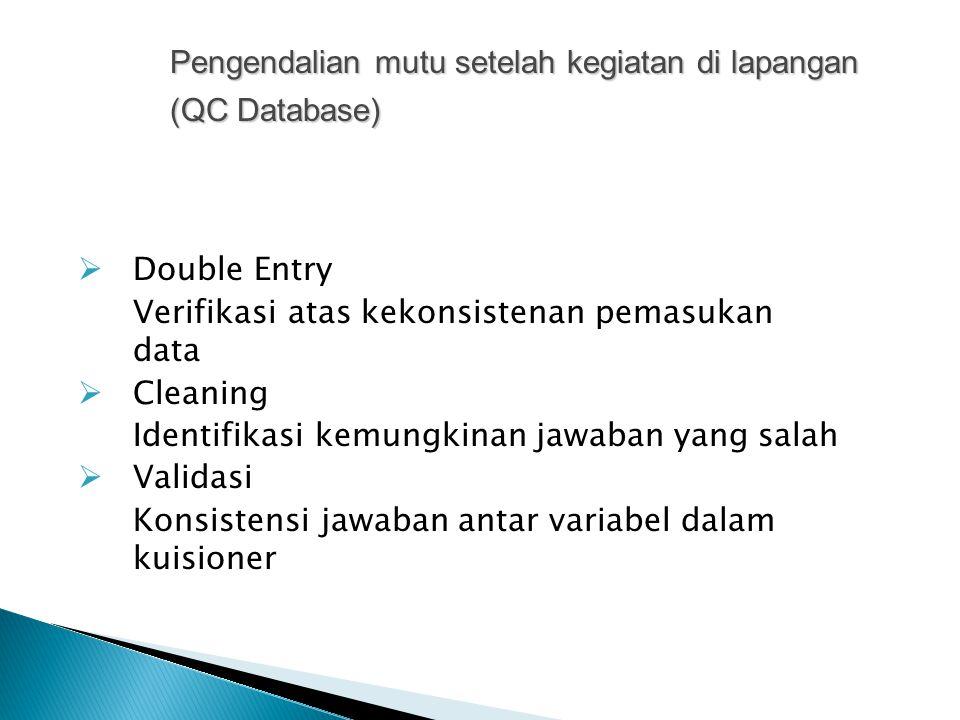  Double Entry Verifikasi atas kekonsistenan pemasukan data  Cleaning Identifikasi kemungkinan jawaban yang salah  Validasi Konsistensi jawaban antar variabel dalam kuisioner Pengendalian mutu setelah kegiatan di lapangan (QC Database)