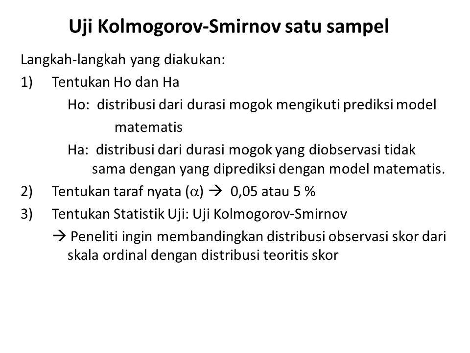Uji Kolmogorov-Smirnov satu sampel Langkah-langkah yang diakukan: 4)Distribusi sampling.