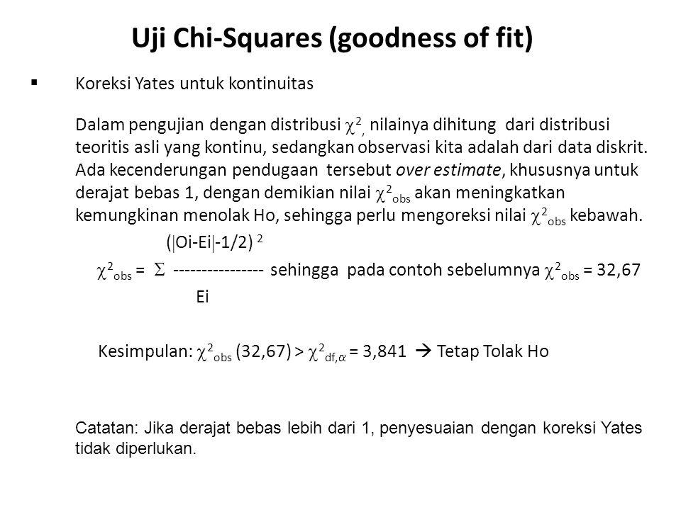 Observasi & Ekspektasi Jenis Penyakit ABCDJumlah Oi356317 Ei663217 Uji Chi-Squares (goodness of fit) Contoh 2: Kasus lebih dari dua kategori Tabel berikut adalah frekuensi observasi dan ekspektasi 4 macam penyakit yang ditemui di suatu daerah: Uji apakah frekuensi observasi dan ekspektasi berbeda secara signifikan pada  = 5 %