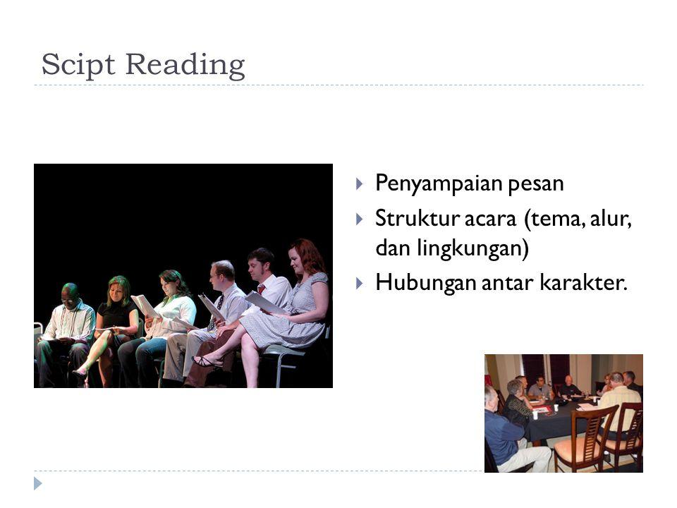 Scipt Reading  Penyampaian pesan  Struktur acara (tema, alur, dan lingkungan)  Hubungan antar karakter.