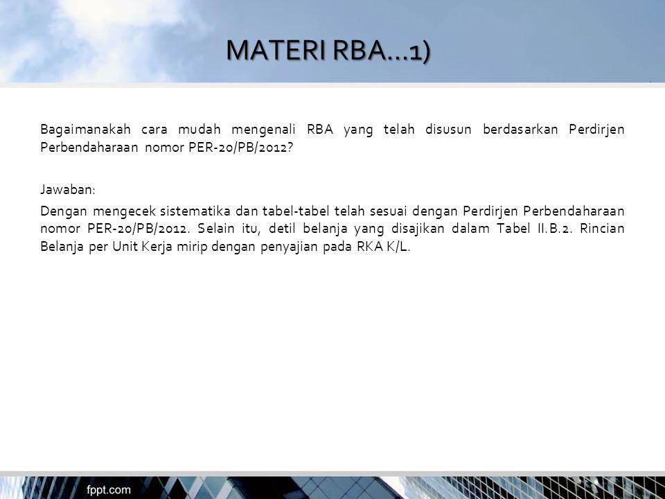 MATERI RBA...1) Bagaimanakah cara mudah mengenali RBA yang telah disusun berdasarkan Perdirjen Perbendaharaan nomor PER-20/PB/2012? Jawaban: Dengan me