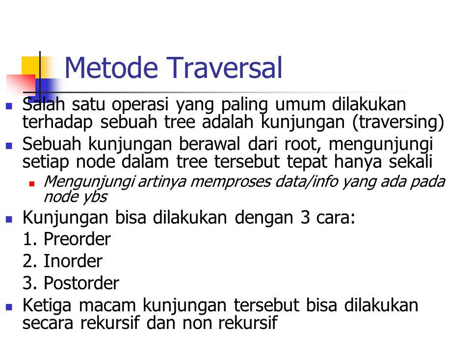 Metode Traversal Salah satu operasi yang paling umum dilakukan terhadap sebuah tree adalah kunjungan (traversing) Sebuah kunjungan berawal dari root,