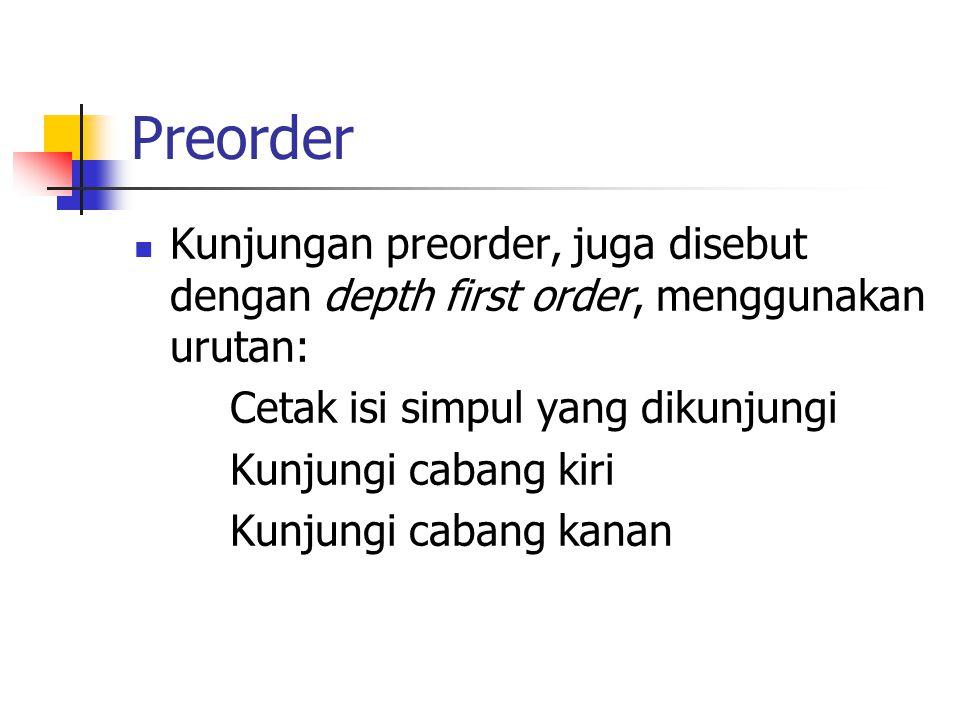 Preorder Kunjungan preorder, juga disebut dengan depth first order, menggunakan urutan: Cetak isi simpul yang dikunjungi Kunjungi cabang kiri Kunjungi