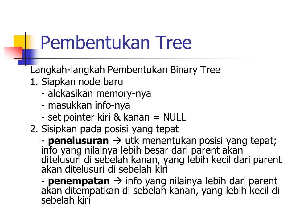 Langkah-langkah Pembentukan Binary Tree 1. Siapkan node baru - alokasikan memory-nya - masukkan info-nya - set pointer kiri & kanan = NULL 2. Sisipkan