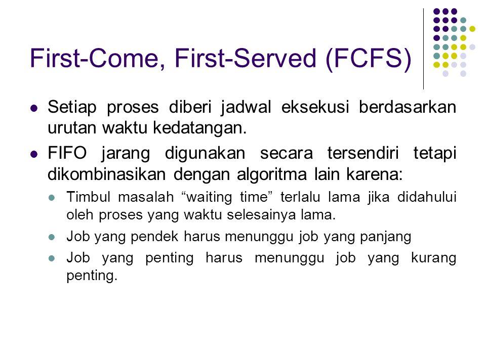 First-Come, First-Served (FCFS) Setiap proses diberi jadwal eksekusi berdasarkan urutan waktu kedatangan. FIFO jarang digunakan secara tersendiri teta