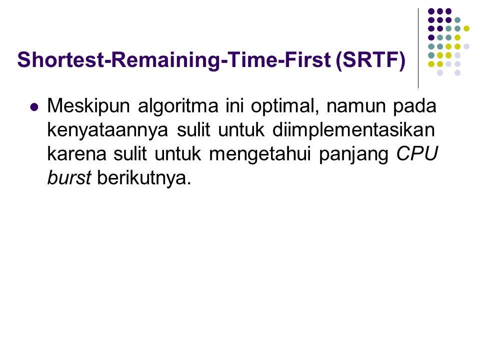 Shortest-Remaining-Time-First (SRTF) Meskipun algoritma ini optimal, namun pada kenyataannya sulit untuk diimplementasikan karena sulit untuk mengetahui panjang CPU burst berikutnya.