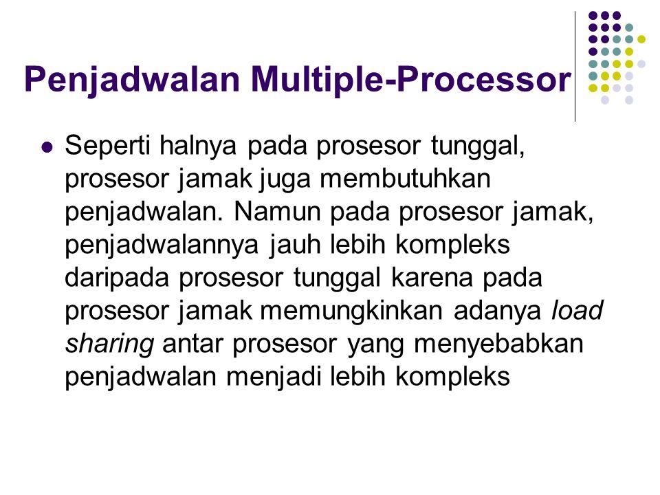 Penjadwalan Multiple-Processor Seperti halnya pada prosesor tunggal, prosesor jamak juga membutuhkan penjadwalan. Namun pada prosesor jamak, penjadwal