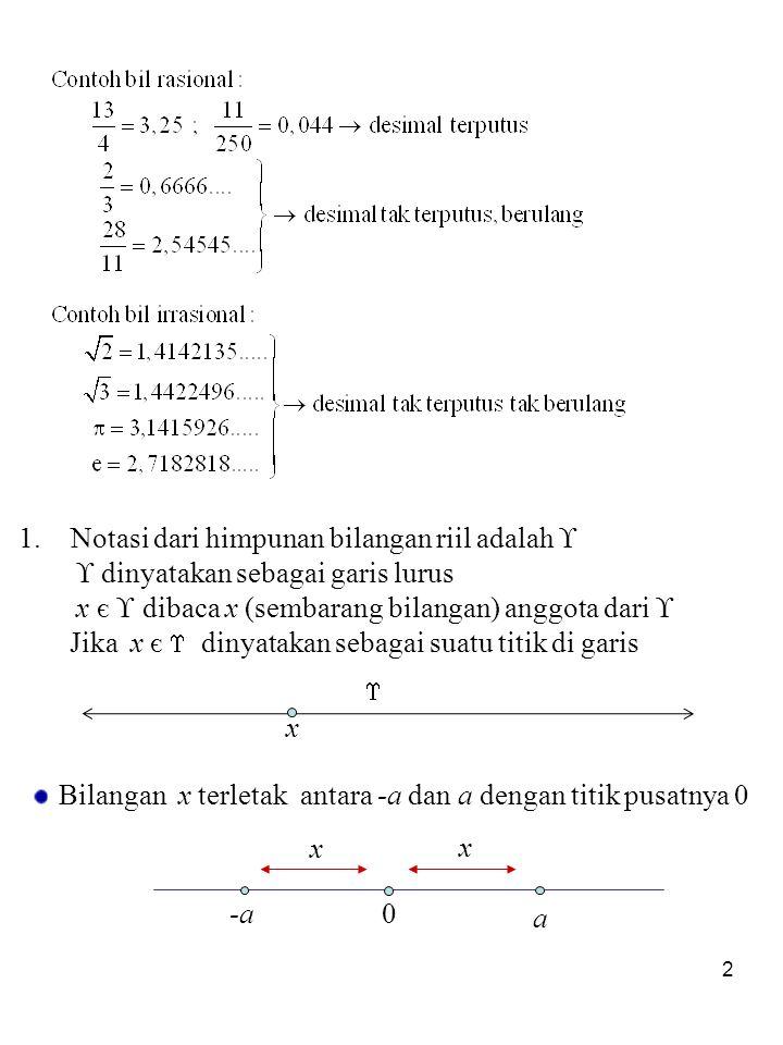 2  1.Notasi dari himpunan bilangan riil adalah   dinyatakan sebagai garis lurus x є  dibaca x (sembarang bilangan) anggota dari  Jika x є  dinyatakan sebagai suatu titik di garis x 0-a a x x Bilangan x terletak antara -a dan a dengan titik pusatnya 0