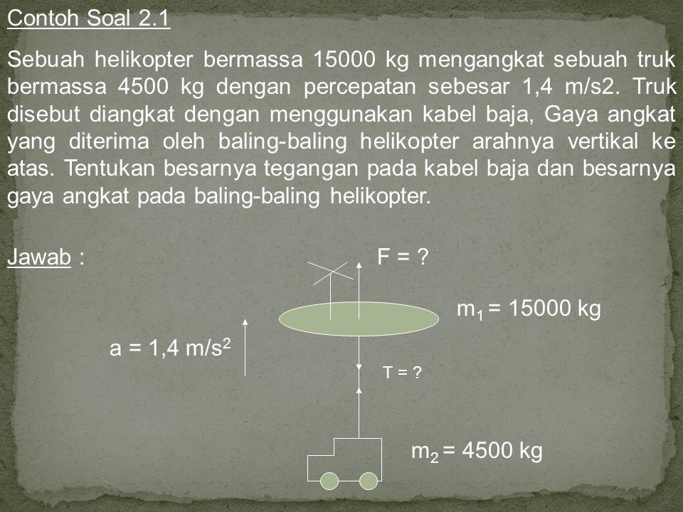 F W2W2 T T W1W1 a Hukum Newton II pada truk : Hukum Newton II pada helikopter :