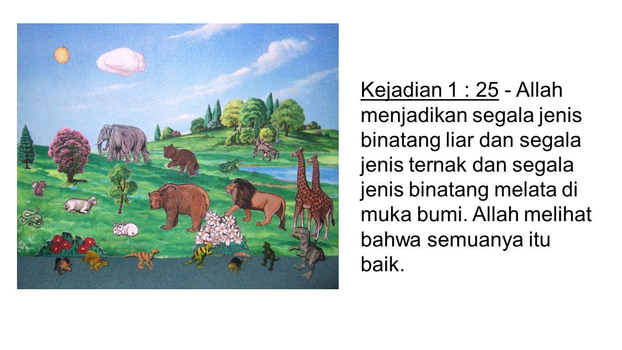 Kejadian 1 : 25 - Allah menjadikan segala jenis binatang liar dan segala jenis ternak dan segala jenis binatang melata di muka bumi. Allah melihat bah