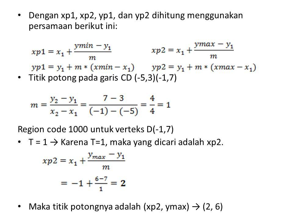 Dengan xp1, xp2, yp1, dan yp2 dihitung menggunakan persamaan berikut ini: Titik potong pada garis CD (-5,3)(-1,7) Region code 1000 untuk verteks D(-1,