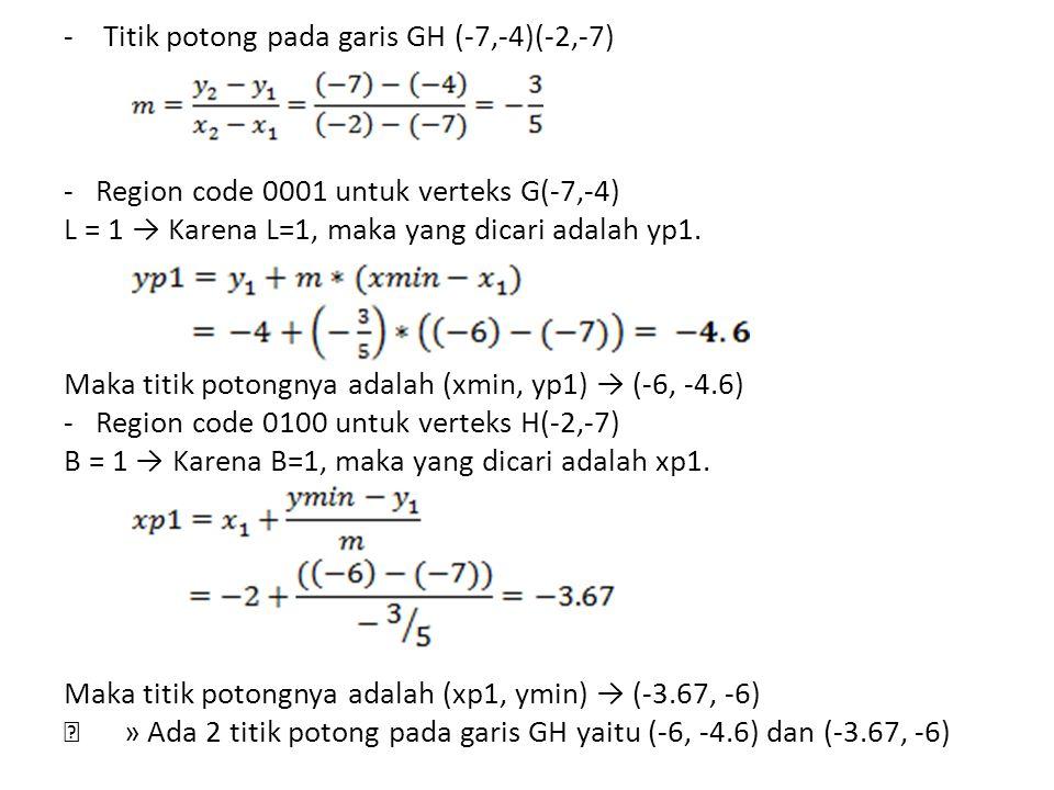 - Titik potong pada garis GH (-7,-4)(-2,-7) - Region code 0001 untuk verteks G(-7,-4) L = 1 → Karena L=1, maka yang dicari adalah yp1. Maka titik poto