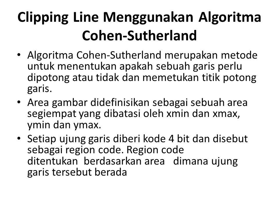 Clipping Line Menggunakan Algoritma Cohen-Sutherland Algoritma Cohen-Sutherland merupakan metode untuk menentukan apakah sebuah garis perlu dipotong a