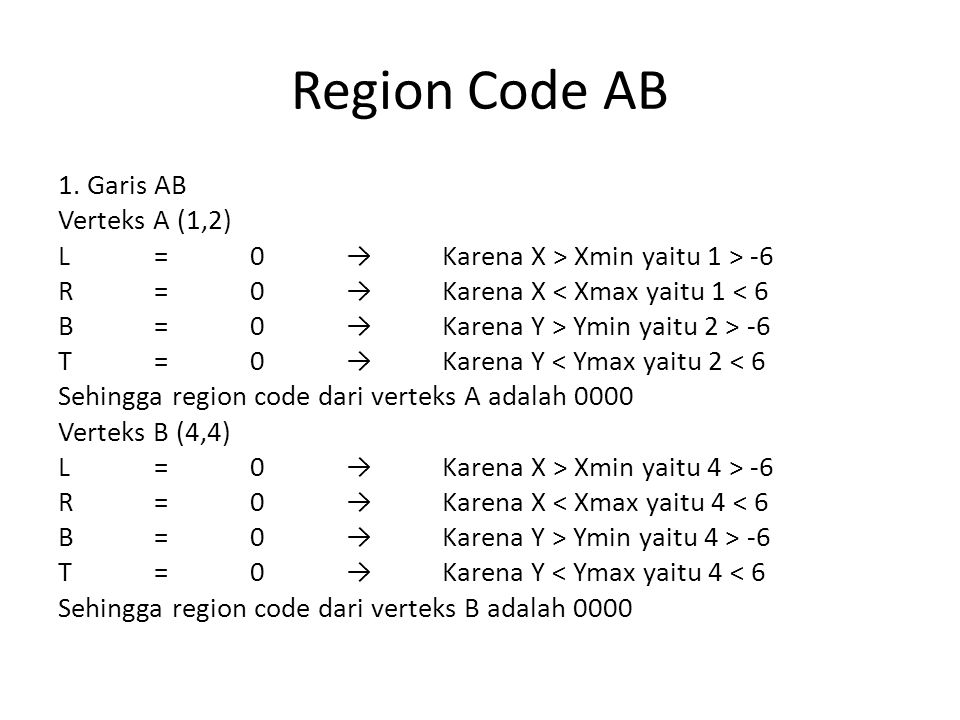 Region Code AB 1. Garis AB Verteks A (1,2) L=0→Karena X > Xmin yaitu 1 > -6 R=0→Karena X < Xmax yaitu 1 < 6 B=0→Karena Y > Ymin yaitu 2 > -6 T=0→Karen