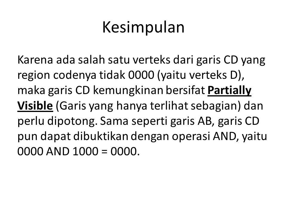 Kesimpulan Karena ada salah satu verteks dari garis CD yang region codenya tidak 0000 (yaitu verteks D), maka garis CD kemungkinan bersifat Partially