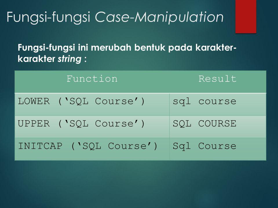 Fungsi-fungsi Case-Manipulation Fungsi-fungsi ini merubah bentuk pada karakter- karakter string : FunctionResult LOWER ('SQL Course')sql course UPPER
