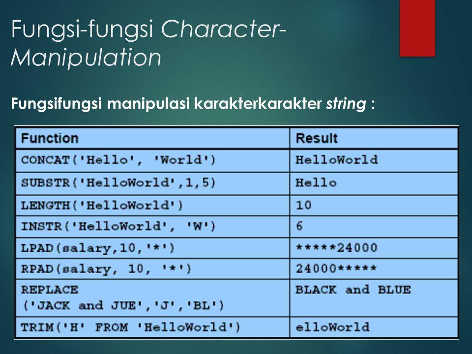 Fungsi-fungsi Character- Manipulation Fungsifungsi manipulasi karakterkarakter string :