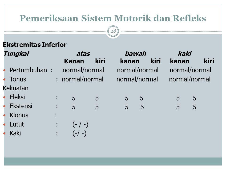 Pemeriksaan Sistem Motorik dan Refleks 28 Ekstremitas Inferior Tungkai atas bawah kaki Kanan kiri kanan kiri kanan kiri Pertumbuhan : normal/normal normal/normal normal/normal Tonus : normal/normal normal/normal normal/normal Kekuatan Fleksi : 5 5 5 5 5 5 Ekstensi : 5 5 5 5 5 5 Klonus : Lutut : (- / -) Kaki : (-/ -)