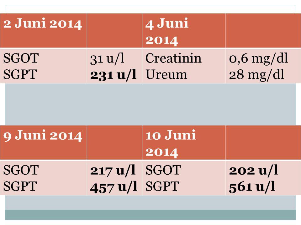 2 Juni 20144 Juni 2014 SGOT SGPT 31 u/l 231 u/l Creatinin Ureum 0,6 mg/dl 28 mg/dl 9 Juni 201410 Juni 2014 SGOT SGPT 217 u/l 457 u/l SGOT SGPT 202 u/l 561 u/l