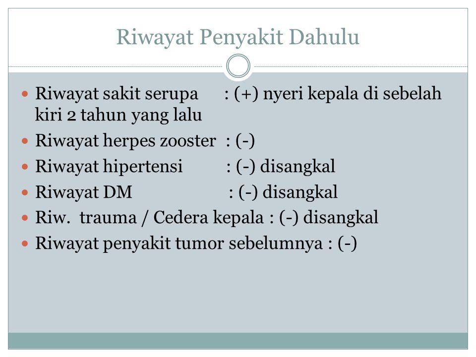 Riwayat Penyakit Dahulu Riwayat infeksi telinga : (-) Riawayat infeksi hidung : (+) sinusitis, hidung berbau, keluar lendir Riwayat sakit gigi : (+) saat ini gigi yang sebelah kanan terasa sakit dan gusinya bengkak Riwayat penurunan berat badan : (-) Riwayat mondok : (+) Pasien 1 tahun yang lalu dirawat di RS Ponorogo, karena nyeri kepala, dan pandangan kabur.