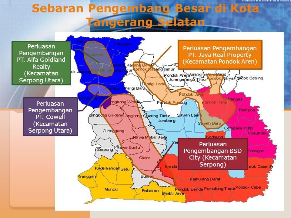 Di Kota Tangerang Selatan terdapat tiga pengembang perumahan skala besar yaitu :  Bumi Serpong Damai (BSD) oleh Sinar Mas Land,  Alam Sutera.
