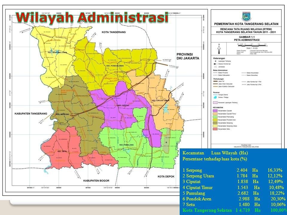 3 LETAK Geografis Kota Tangerang Selatan Kota Tangerang Selatan secara geografis terletak pada koordinat 106º 38' - 106º 47' bujur timur dan 06º 13' 30 - 06º 22' 30 lintang selatan dengan luas 14.719 (empat belas ribu tujuh ratus sembilan belas) hektar.