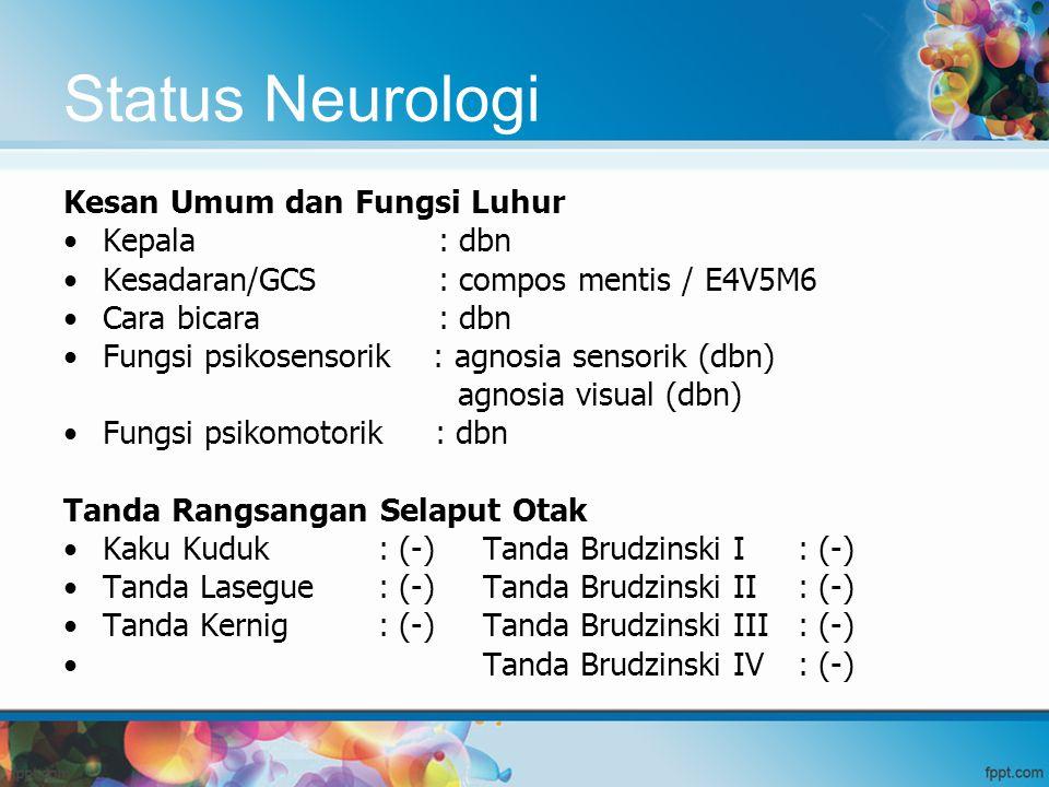 Status Neurologi Kesan Umum dan Fungsi Luhur Kepala : dbn Kesadaran/GCS : compos mentis / E4V5M6 Cara bicara : dbn Fungsi psikosensorik : agnosia sens