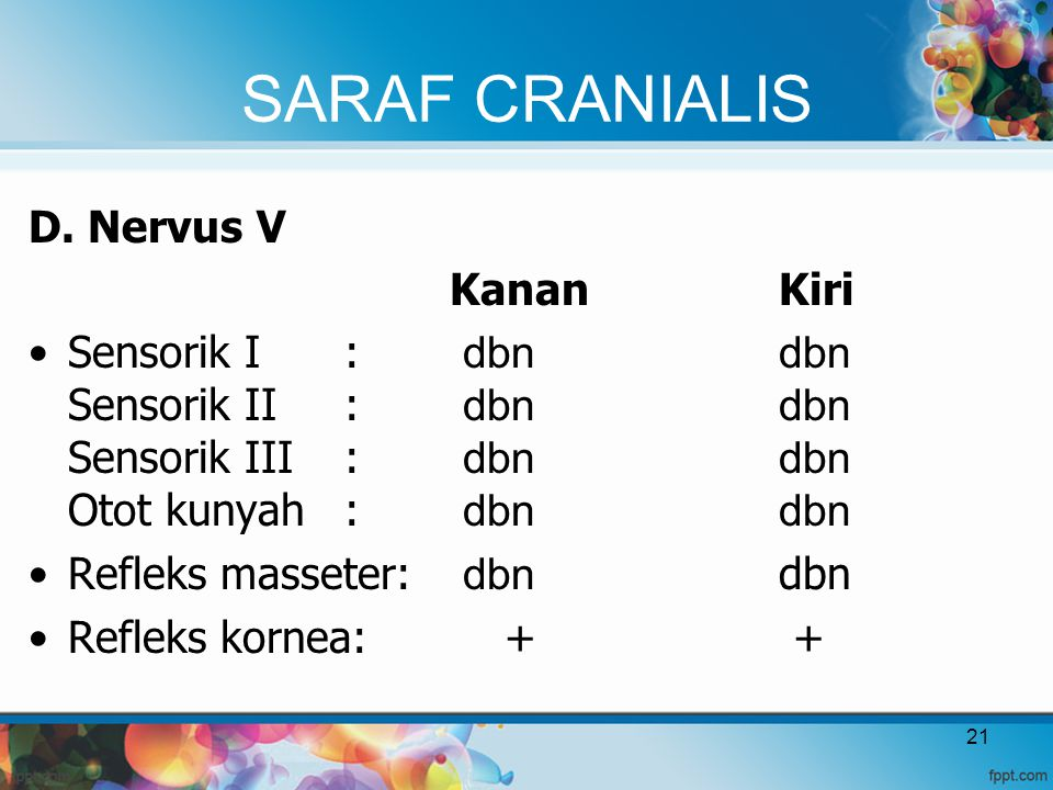 SARAF CRANIALIS D. Nervus V Kanan Kiri Sensorik I: dbn dbn Sensorik II: dbn dbn Sensorik III: dbn dbn Otot kunyah: dbn dbn Refleks masseter: dbn dbn R
