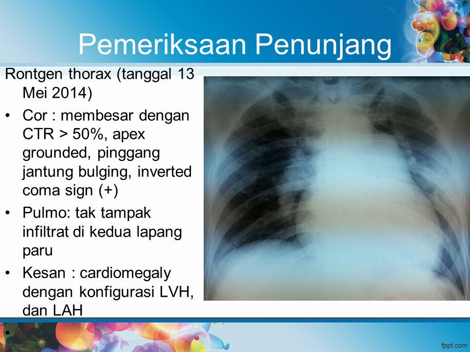 Pemeriksaan Penunjang Rontgen thorax (tanggal 13 Mei 2014) Cor : membesar dengan CTR > 50%, apex grounded, pinggang jantung bulging, inverted coma sig