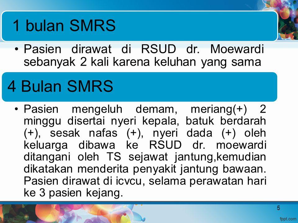 1 bulan SMRS Pasien dirawat di RSUD dr. Moewardi sebanyak 2 kali karena keluhan yang sama 4 Bulan SMRS Pasien mengeluh demam, meriang(+) 2 minggu dise