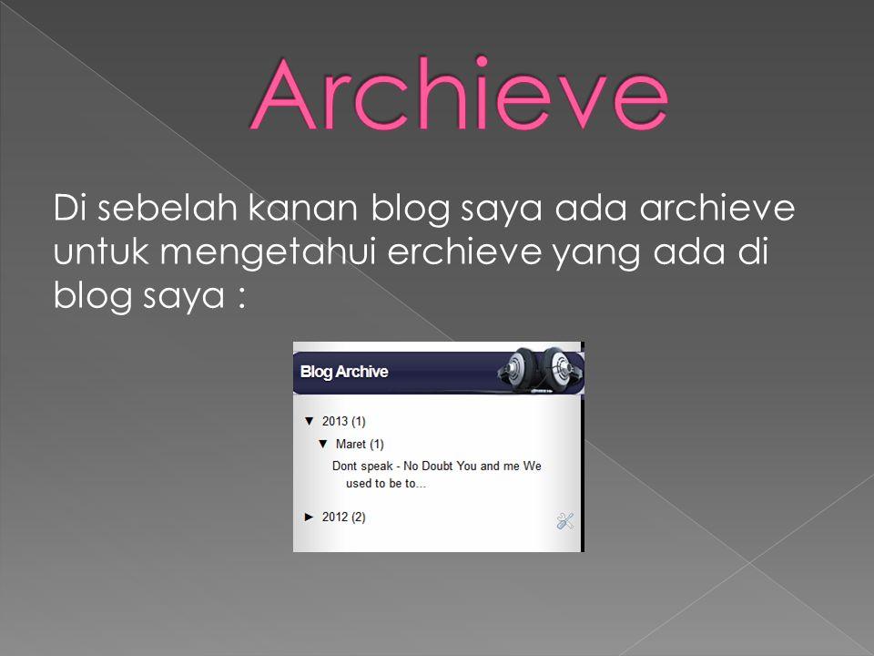 Di sebelah kanan blog saya ada archieve untuk mengetahui erchieve yang ada di blog saya :