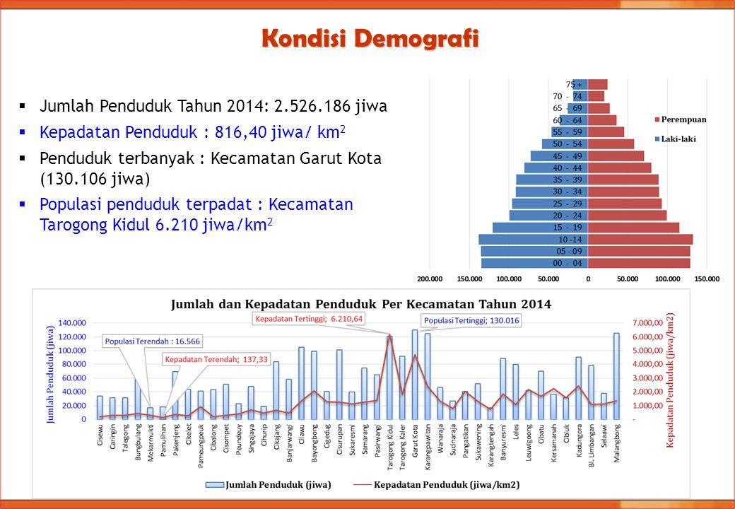 Kondisi Demografi  Jumlah Penduduk Tahun 2014: 2.526.186 jiwa  Kepadatan Penduduk : 816,40 jiwa/ km 2  Penduduk terbanyak : Kecamatan Garut Kota (1