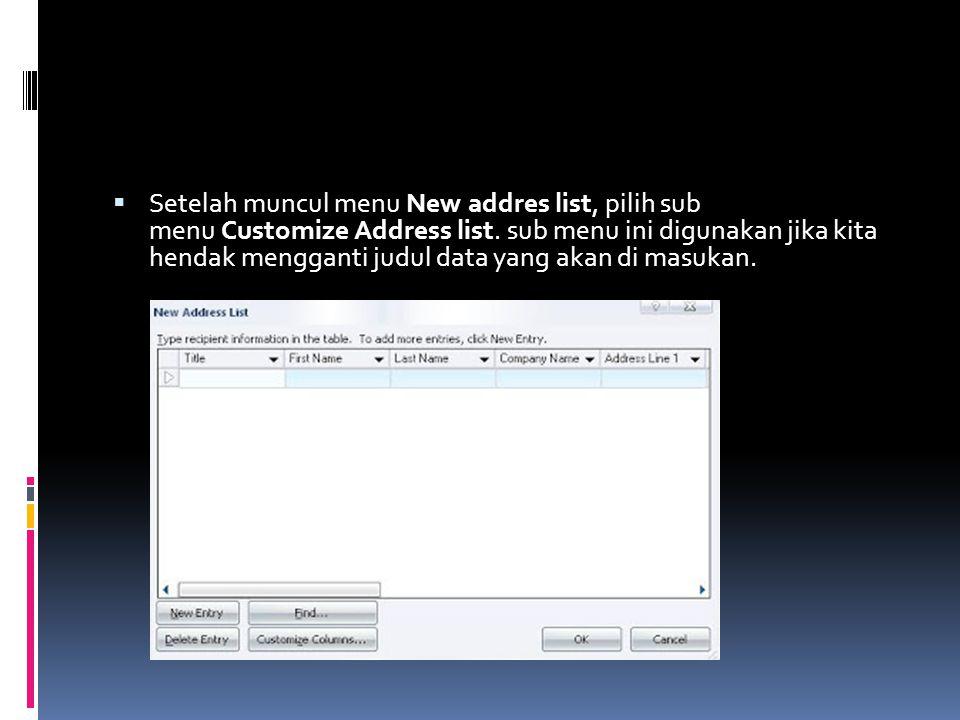  Setelah muncul menu New addres list, pilih sub menu Customize Address list. sub menu ini digunakan jika kita hendak mengganti judul data yang akan d