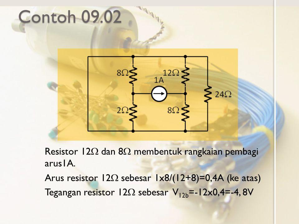 Contoh 09.02 Resistor 12  dan 8  membentuk rangkaian pembagi arus1A. Arus resistor 12  sebesar 1x8/(12+8)=0,4A (ke atas) Tegangan resistor 12  seb