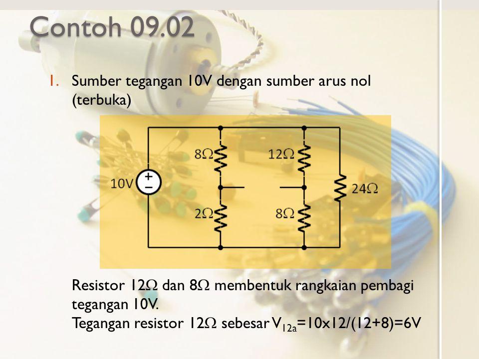 Contoh 09.02 1.Sumber tegangan 10V dengan sumber arus nol (terbuka) Resistor 12  dan 8  membentuk rangkaian pembagi tegangan 10V. Tegangan resistor