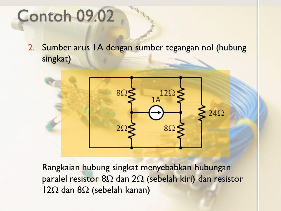 Contoh 09.02 2.Sumber arus 1A dengan sumber tegangan nol (hubung singkat) Rangkaian hubung singkat menyebabkan hubungan paralel resistor 8  dan 2  (