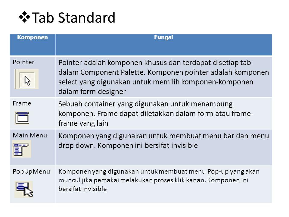  Tab Standard KomponenFungsi Pointer Pointer adalah komponen khusus dan terdapat disetiap tab dalam Component Palette. Komponen pointer adalah kompon