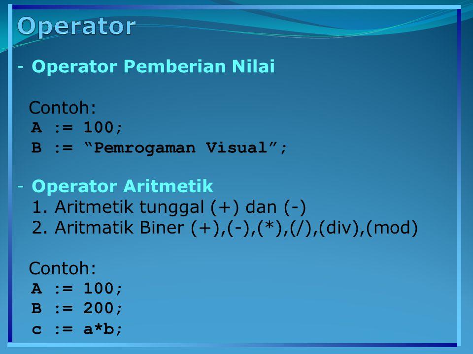 """-Operator Pemberian Nilai Contoh: A := 100; B := """"Pemrogaman Visual""""; -Operator Aritmetik 1. Aritmetik tunggal (+) dan (-) 2. Aritmatik Biner (+),(-),"""